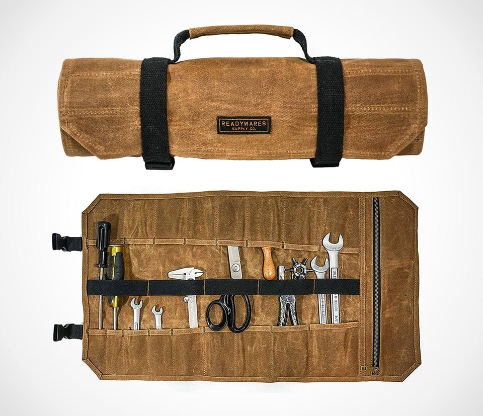 Readywares tool roll in sturdy waxed canvas