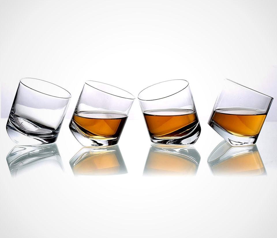 Tilting highball/tumbler whiskey glasses by MyGift