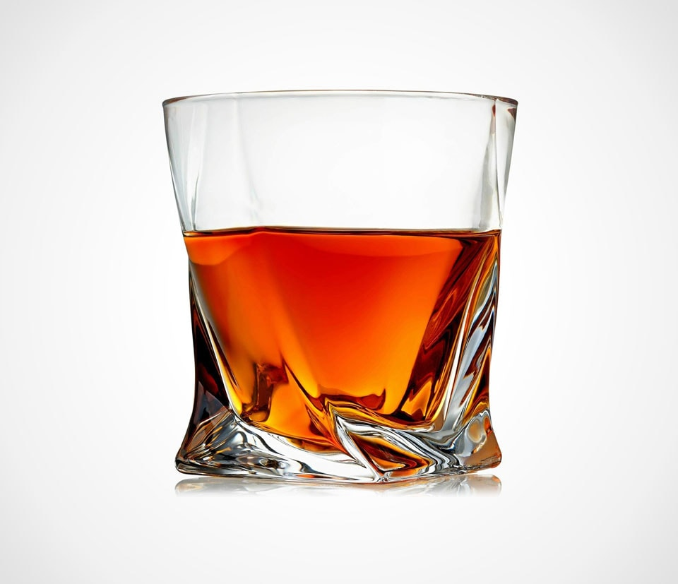 The perfect whiskey glass Twisted tumbler crystal glass by Venero Crystal