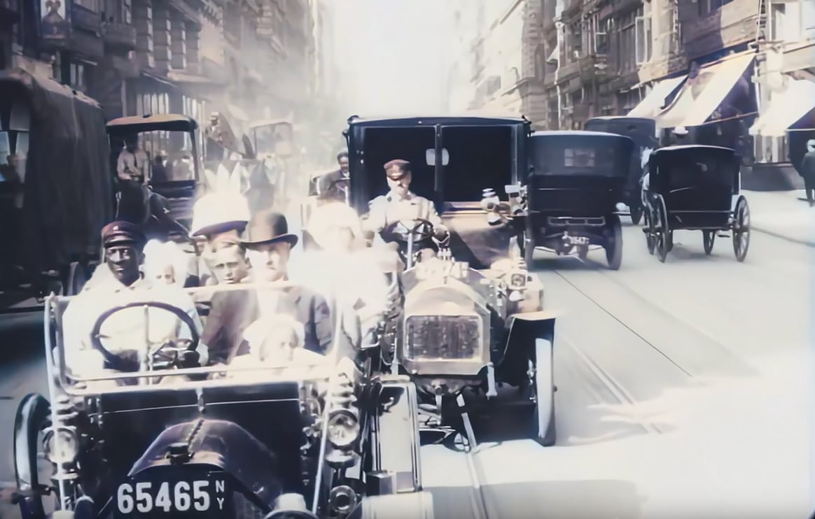 Enhanced 4K Footage From A Trip Trough New York in 1911