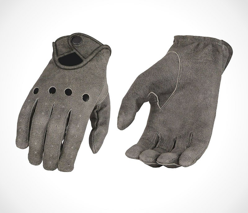 Men's Distressed Grey Men's Leather Driving Glove w/Wrist Snap