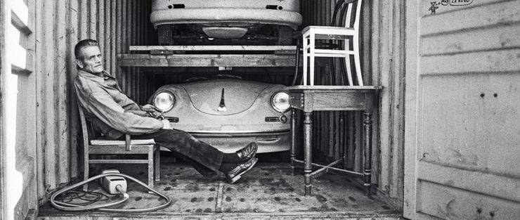 A two-storage container with a Porsche 356 A Coupé on the upper level, and a 1959 Porsche 356 B Roadster with a three-liter turbo engine on the ground floor