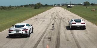 Pointless Drag Race Between a Tuned Corvette C8 vs C7