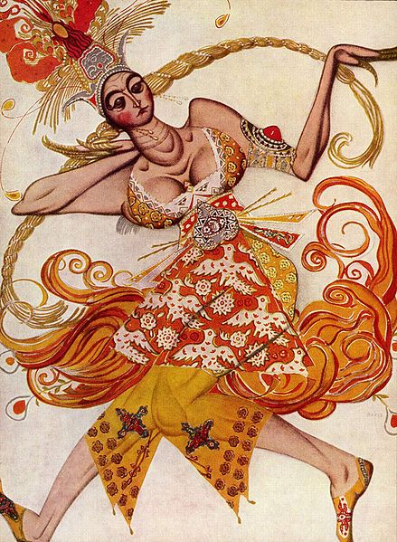 Paintings in art deco style Costume for the Firebird by Léon Bakst