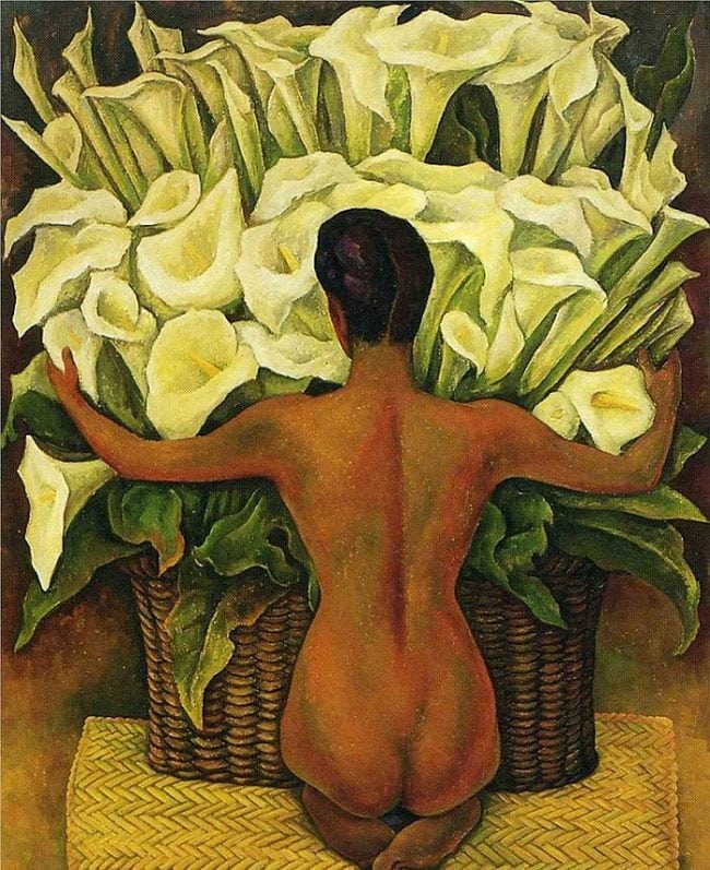 Paintings in art deco style Nude with Calla Lilies by Diego Rivera