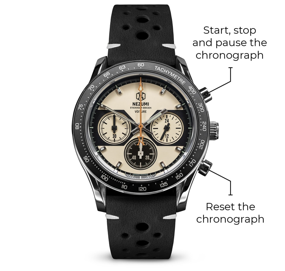 Illustration showing how to start, stop and reset a chronograph.