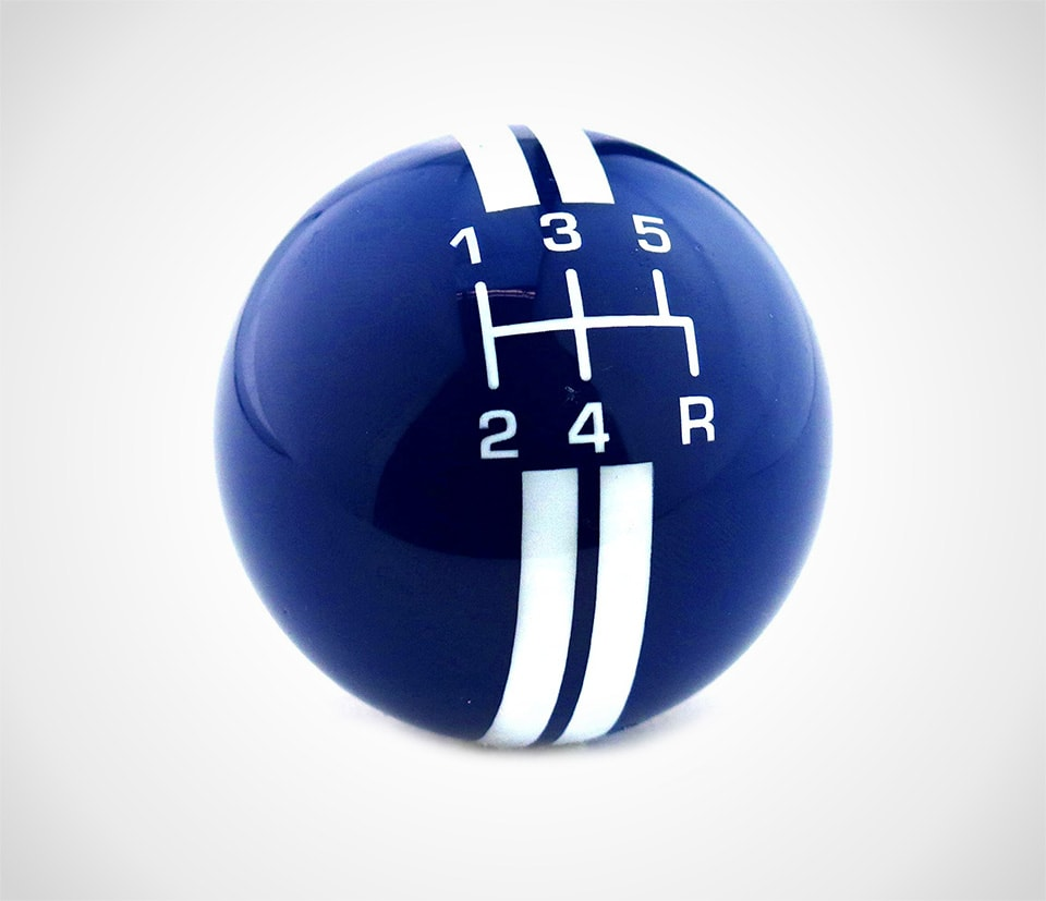 best aftermarket shift knob in blue with white stripes