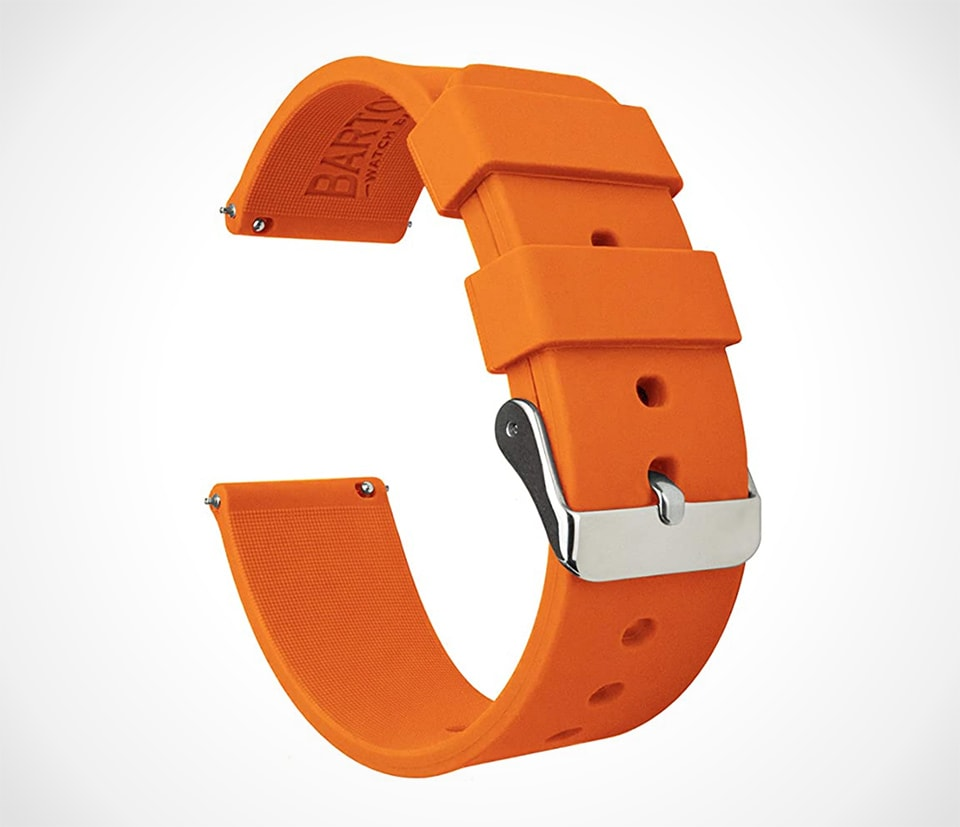 Best watch straps for summer orange silicone watch strap by Barton Watch bands