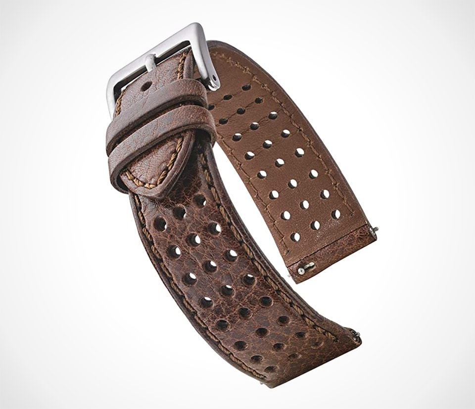 Best watch straps for summer Soft rally strap in perforated brown leather