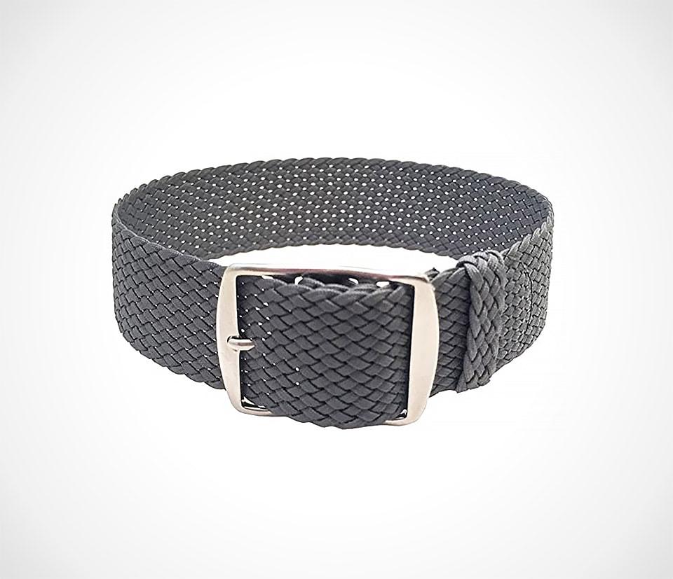 summer watch strap in dark grey perlon strap by Wrist and Style