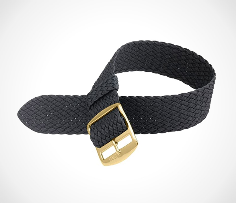 Black perlon with gold buckle by Davis