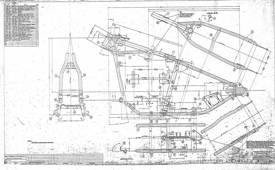 Original Harley-Davidson Panhead wishbone frame factory drawing showing dimensions