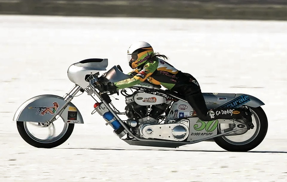 Valerie Thompson on her way to a Panhead powered record