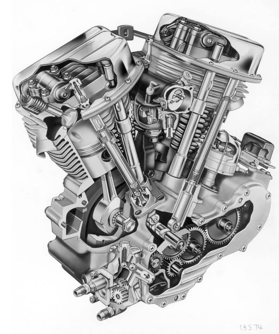 drawing of the Harley-Davidson Panhead power plant