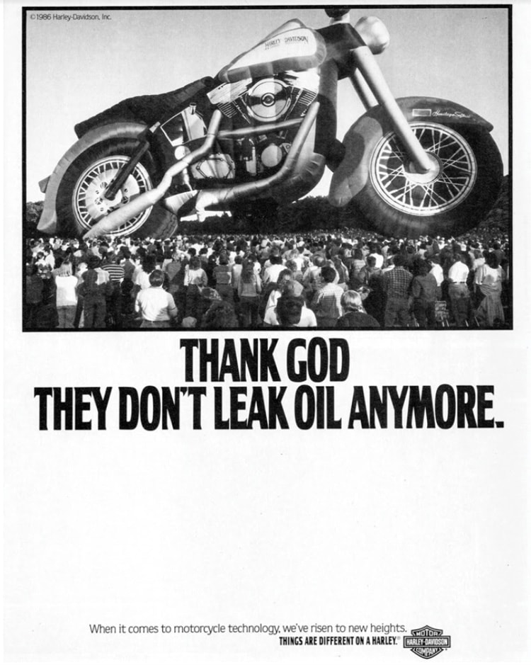 1987 Harley ad featuring Malcolm Forbes' Harley hot air balloon