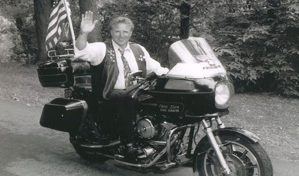 State Senator Dave Zien in 1991 on a Harley Davidson