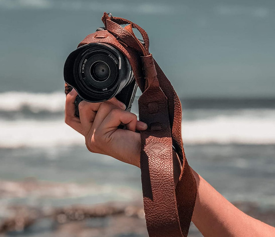Tether brown leather camera strap