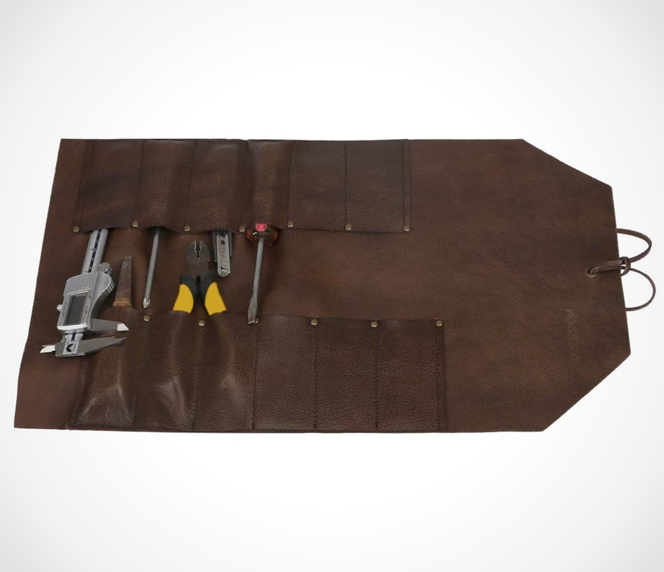 Classic and sleek leather tool roll By TOURBON