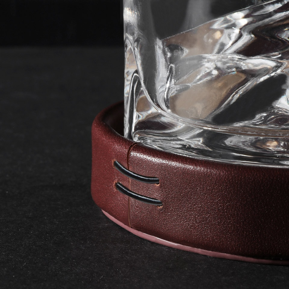 Whiskey glass leather holder
