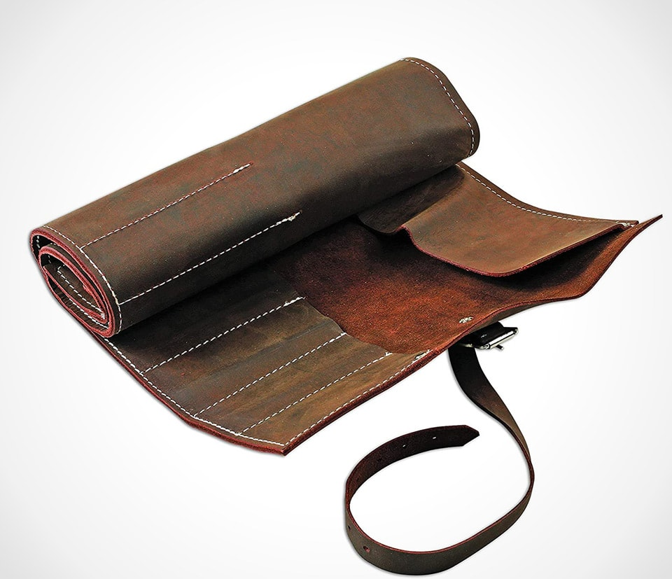 Large 15 pockets leather tool roll by Gunson