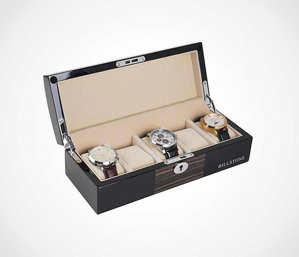 Oxford 5 Watch Box in Macassar Wood Finish