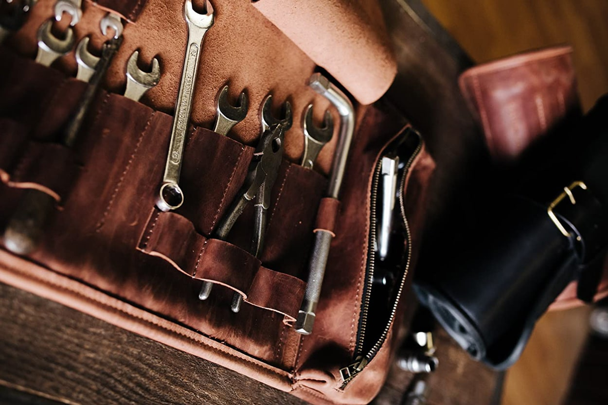 Best leather tool bag for garage motorcycle and car