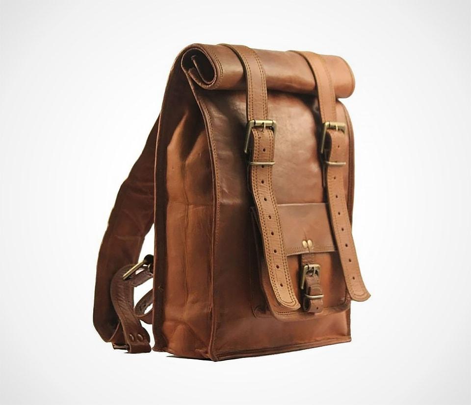 Urban Dezire Men's Leather Vintage Roll On Laptop Backpack
