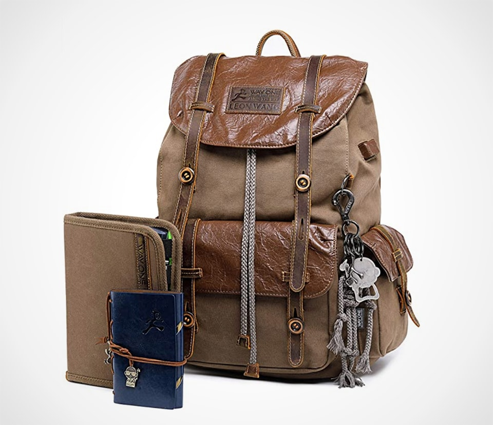 Vintage Leather and Canvas Backpack