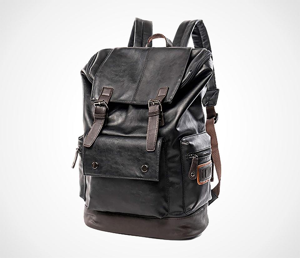 Vintage PU Leather Backpack for Men