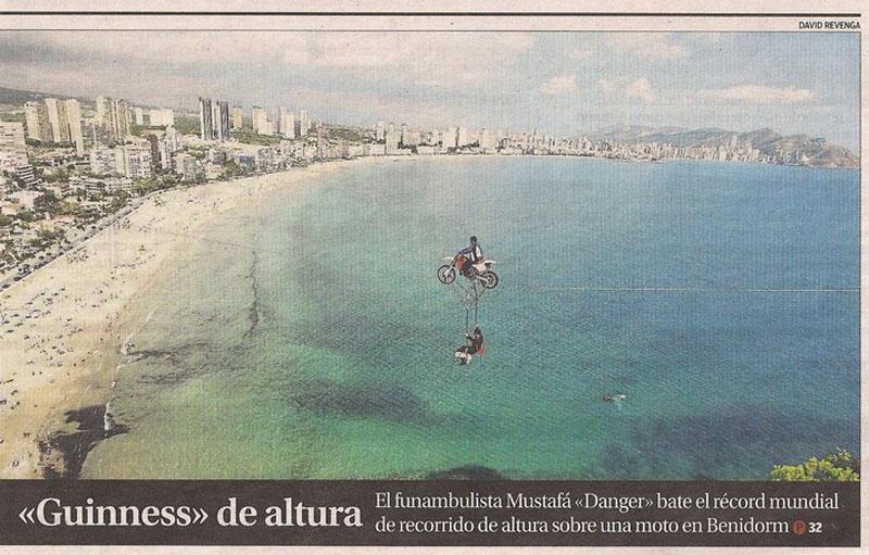 World's Highest Motorcycle Tightrope Ride