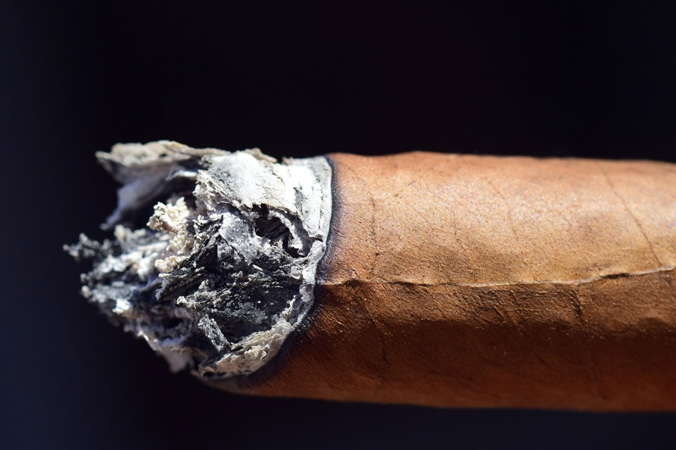 burned end on a cigar