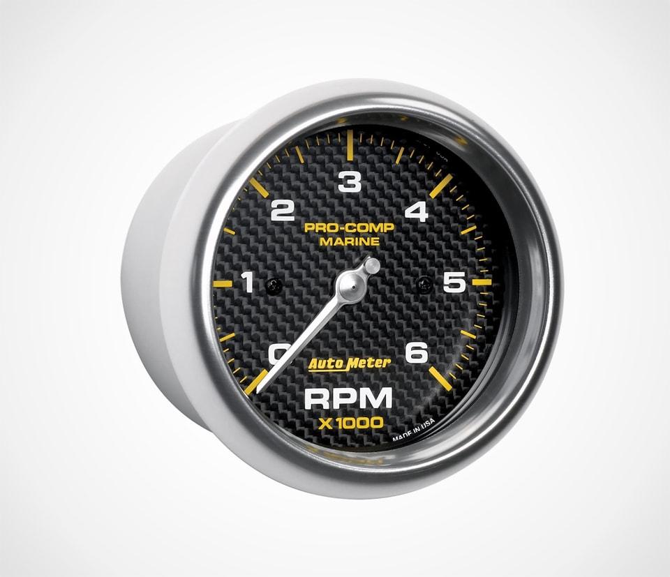 Auto Meter Marine Tachometer 6K RPM in Carbon Fiber