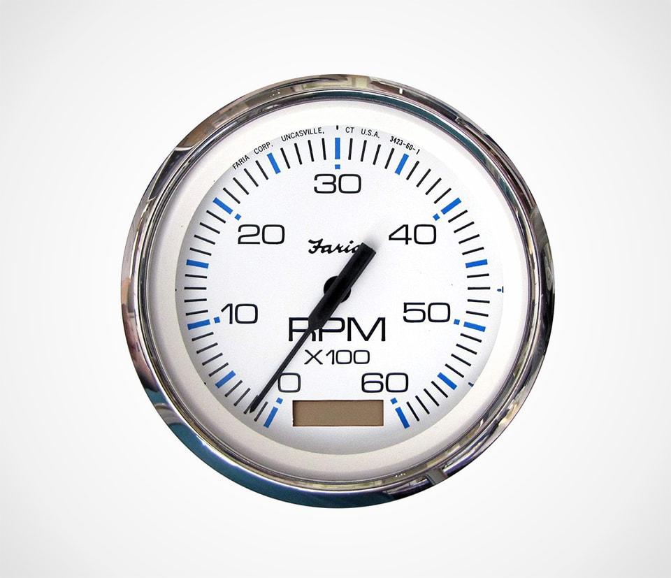 Faria Chesapeake 6000 RPM Tachometer Gauge with Hour-meter