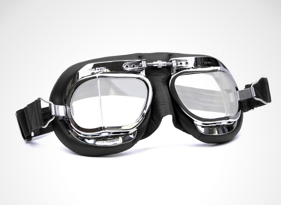 Black Leather Classic Motorcycle Compact Goggles