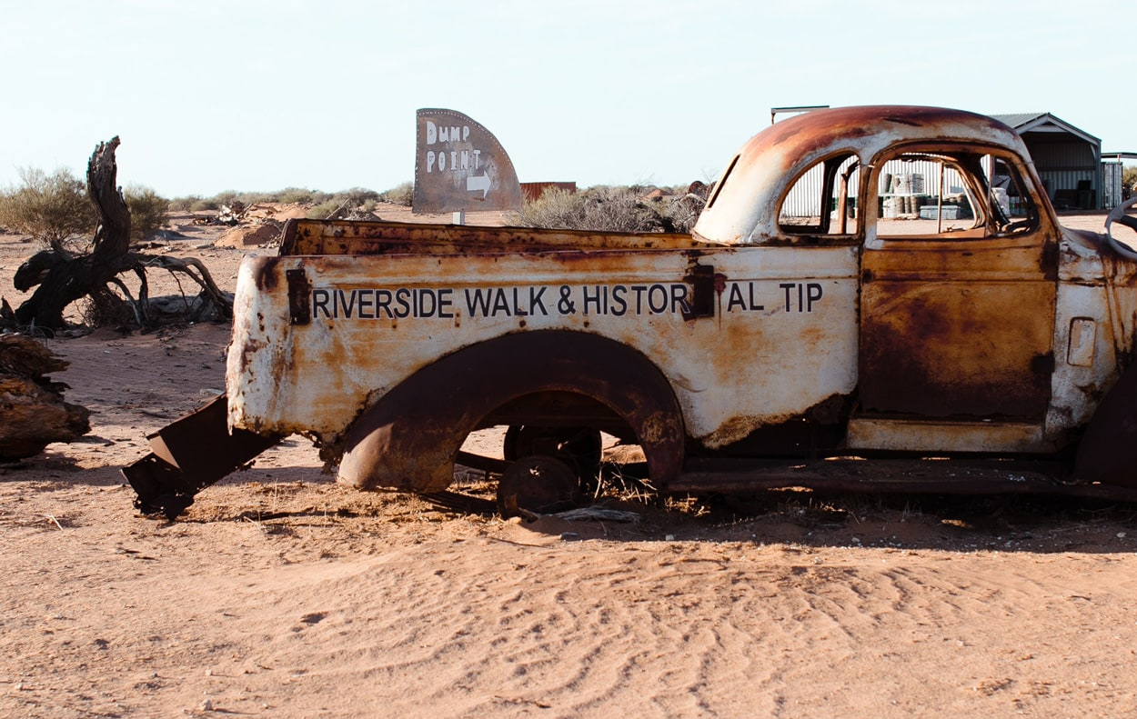 Rusty old pick-up truck in the desert