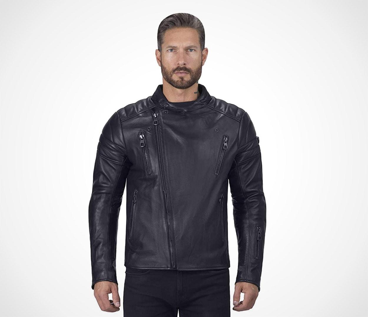 Cafe Premium Black Leather Motorcycle Jacket for Men