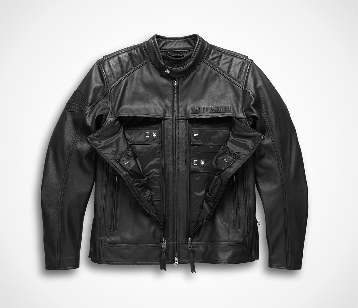 Harley-Davidson Men's Synthesis Pocket System Reflective Black Leather Jacket