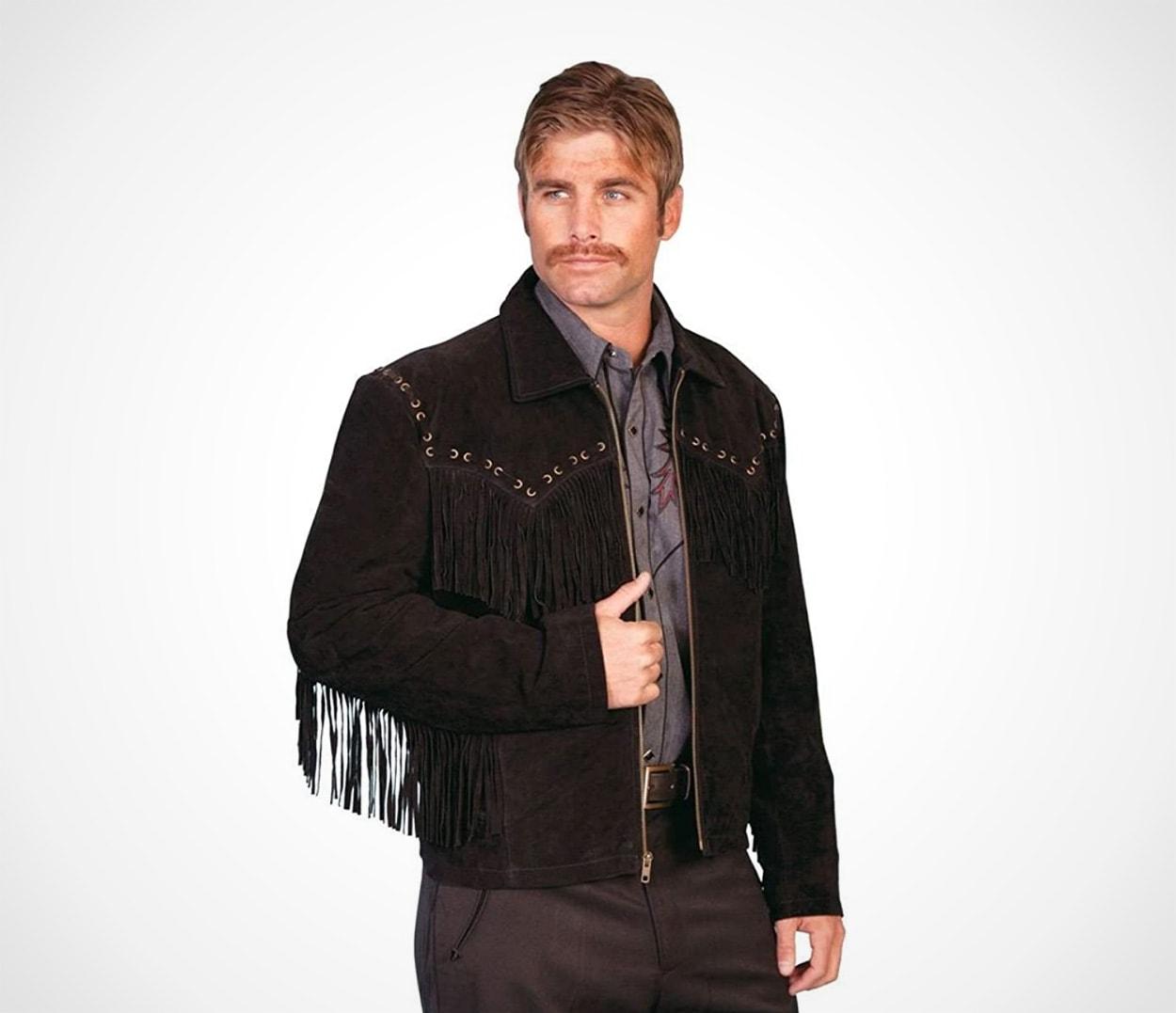 Men's Fringed Suede Leather Short Jacket