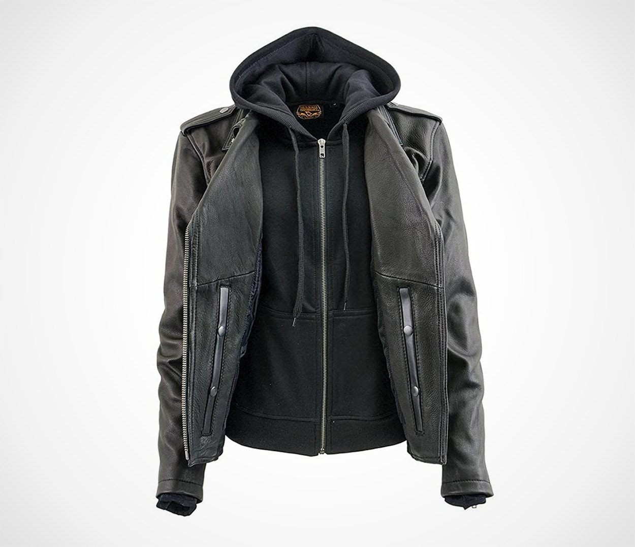 Milwaukee Leather Women's Black Vented MC Jacket with Removable Hoodie