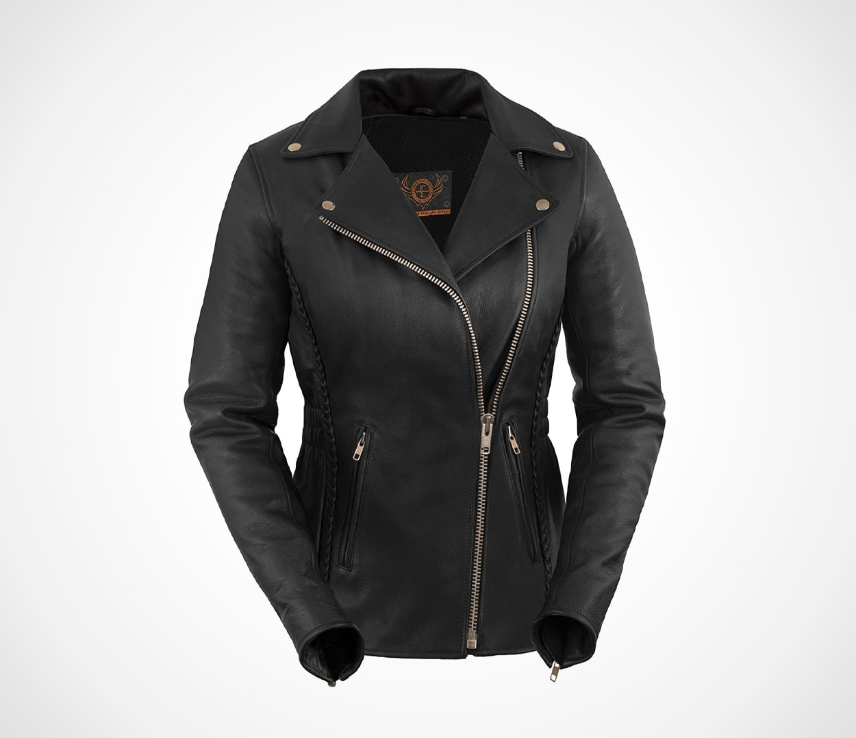 Women's Premium Braided Motorcycle Black Leather Jacket