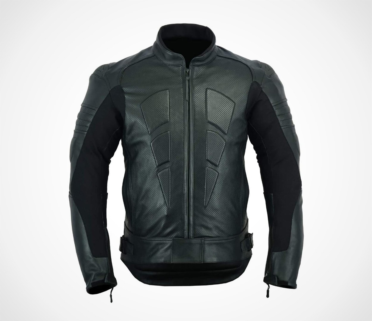 Men's Perforated Motorcycle Leather Jacket With External and Internal Armour