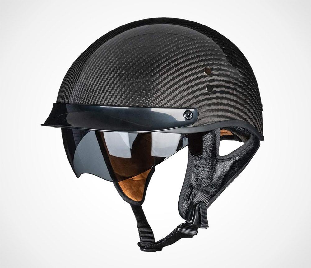 Carbon Fiber Open Face Sun Shield Motorcycle Helmet