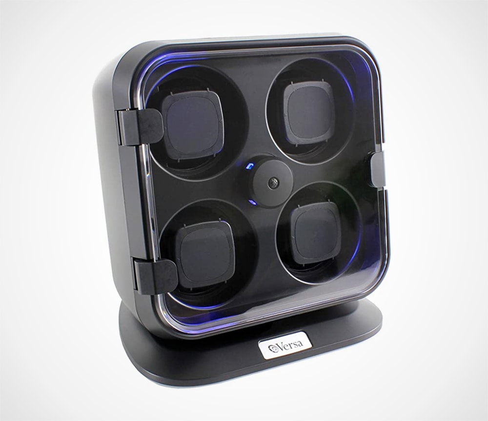 Quad Watch Winder with Light in Black