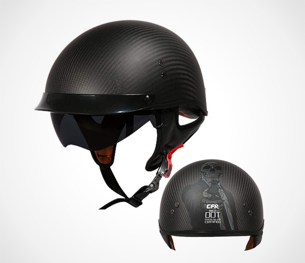 Retro Motorcycle Helmet Half Cover Carbon Fiber
